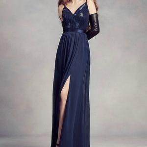 Vera Wang Navy Sequin Bodice Bridesmaid Dress
